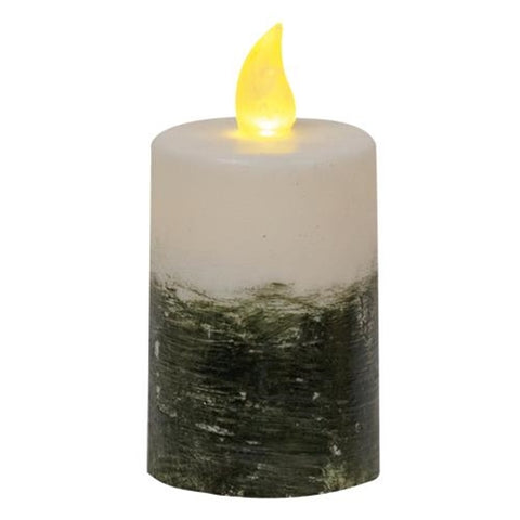 "Black & White Ombre Pillar Timer Battery Candle, 2.25"" x 4"""