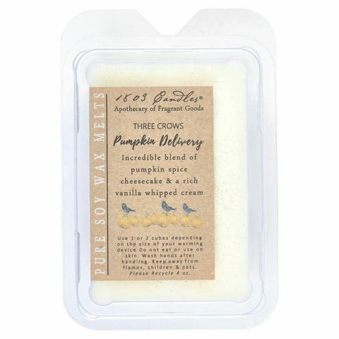 1803 Candles Three Crows Pumpkin Deliverly Soy Wax Melts 6 sq. block