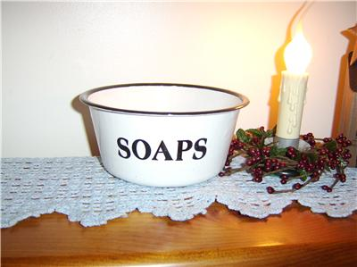 French Country White Enamel Soap Bowl