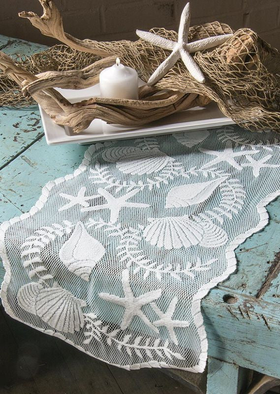 "Heritage Lace Tidepool white Runner 14"" X 40"""