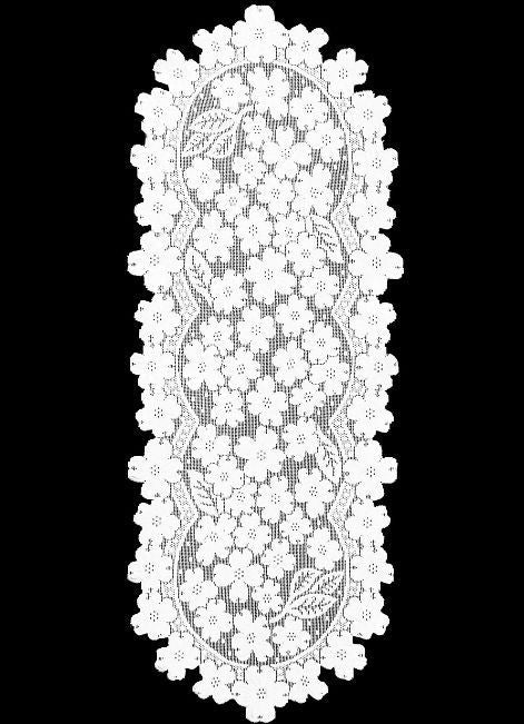 "Heritage Lace White DOGWOOD 14"" X 33"" Runner"