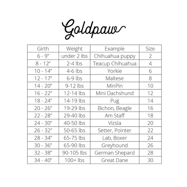 Gold Paw Fleece Size Chart