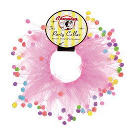 Pink Party Collar with Pom Poms