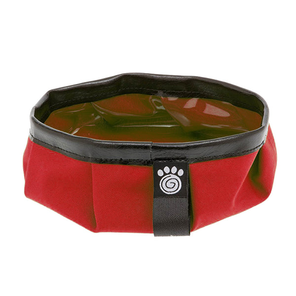 red pet travel bowl