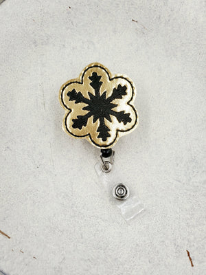 Snowflake Badge Reel - Black - love tan co.