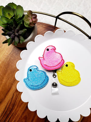 Peep Chick Badge Reel - Glitter - love tan co.