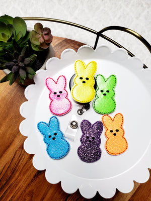 Peep Bunny Badge Reel - Glitter - love tan co.