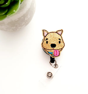 Scooby Puppy Dog Badge Reel - Glitter - love tan co.