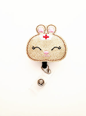 Bunny Nurse Badge Reel - Glitter - love tan co.