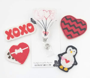 Valentines Day Badge Reel -Heart Badge-Penguin - love tan co.