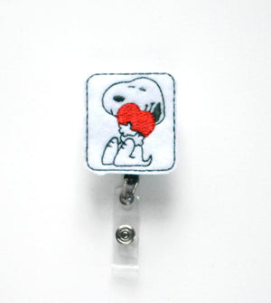 Valentines Day Snoopy Badge Reel - love tan co.