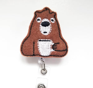 Coffee Bear Badge Reel - love tan co.
