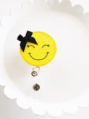 Smiley Face Bow  Badge Reel - love tan co.