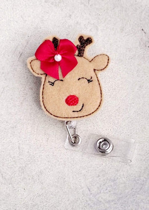 Big Bow Reindeer Badge Reel - love tan co.