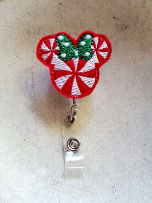 Christmas Girl Mouse Badge Reel - love tan co.