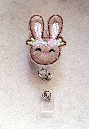 Floral Bunny Badge Reel - love tan co.
