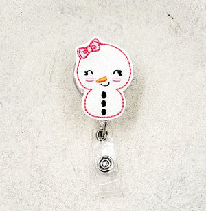 Snow Gal Badge Reel - Snowman Badge - love tan co.