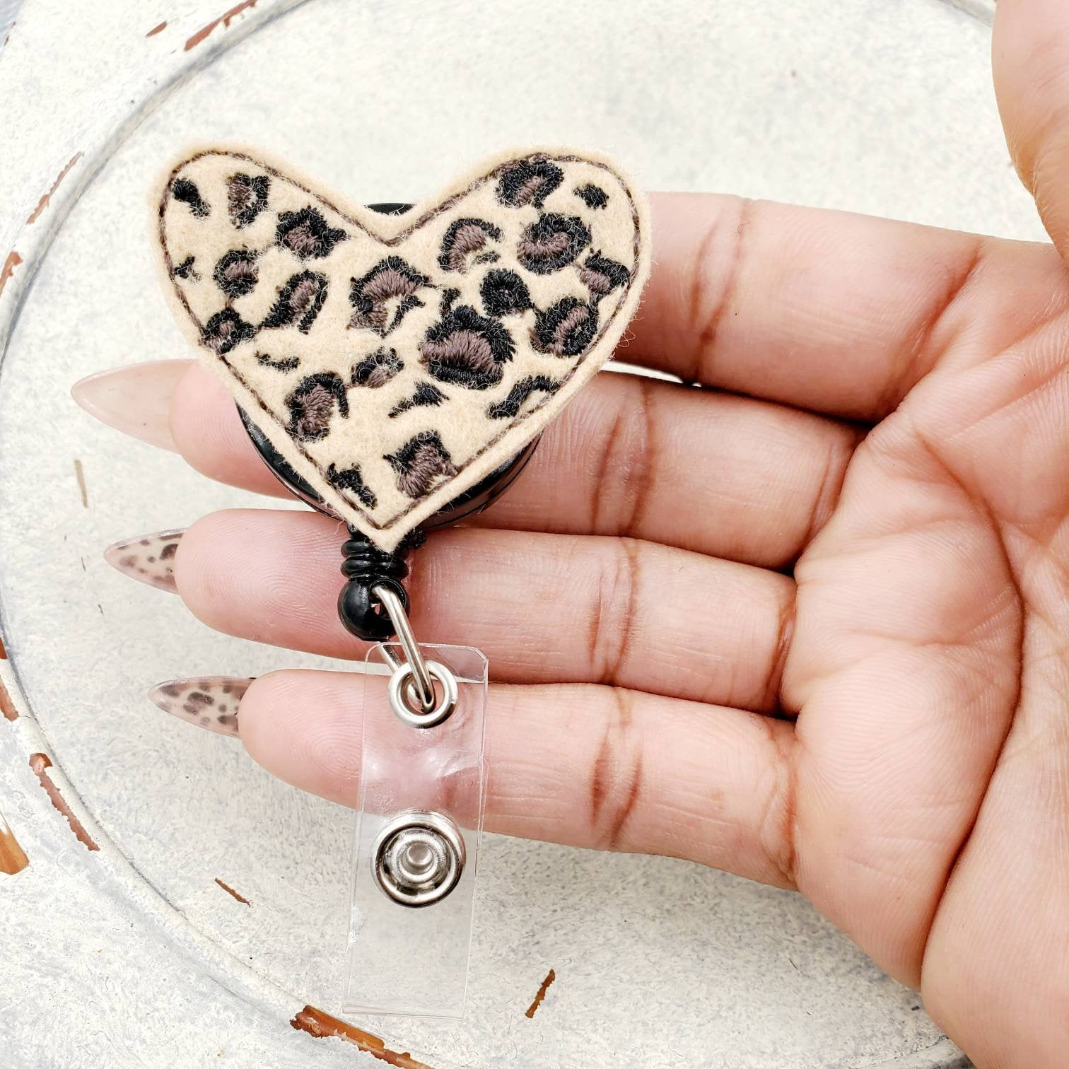 Leopard Print Heart Badge Reel *Limited* - love tan co.