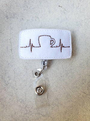 EKG Coffee Badge Reel - Drink - love tan co.