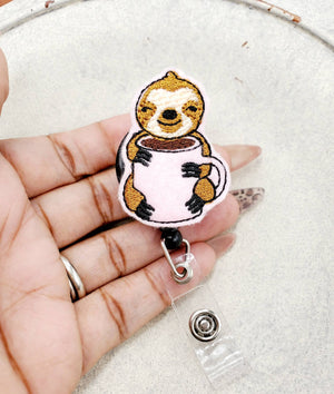 Sloth Coffee Badge Reel - love tan co.
