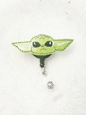 Baby Yoda Glitter Badge Reel - love tan co.