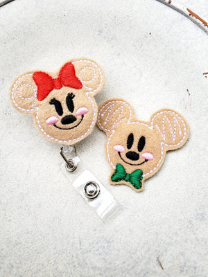Gingerbread Mickey and Minnie Badge Reel - love tan co.