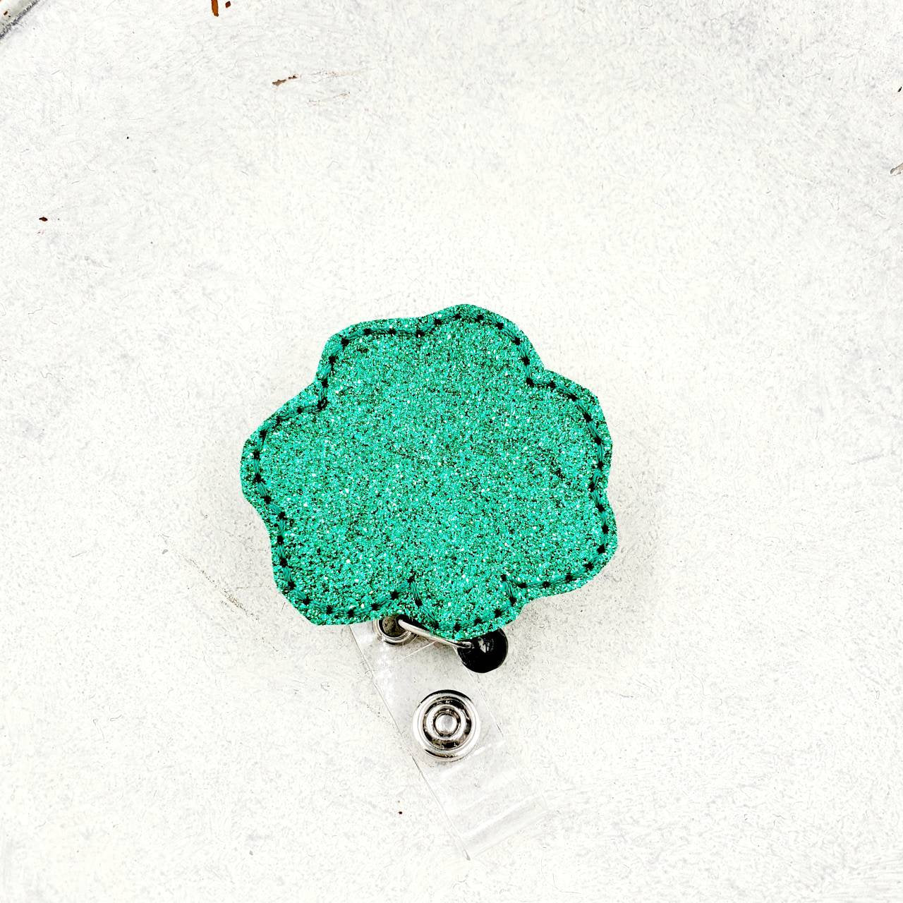 Green Glitter Clover  Badge Reel - love tan co.