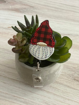 Buffalo Plaid Gnome Badge Reel