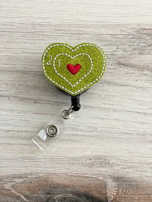 Grinch Inspired Heart Badge Reel