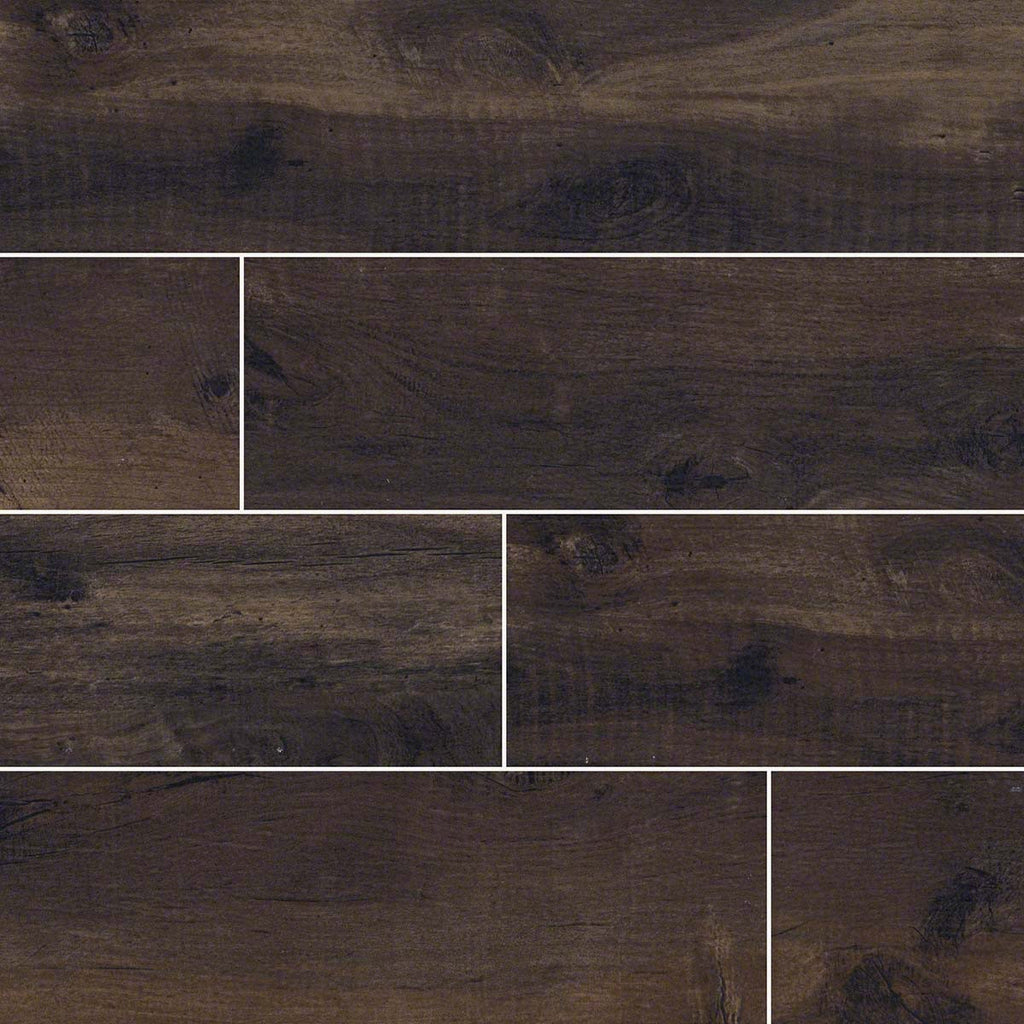 "Country River Bark 8""X 48"" Matte Porcelain Wood Look Tile"