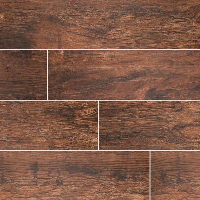 "Redwood Mahogony 8""X 48"" Matte Porcelain Wood Look Tile"