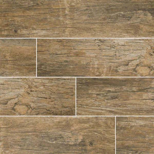 "Redwood Natural 8""X 48"" Matte Porcelain Wood Look Tile"