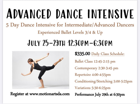 4. Intermediate/Advanced 2021 Summer Dance Intensive July 26-30th