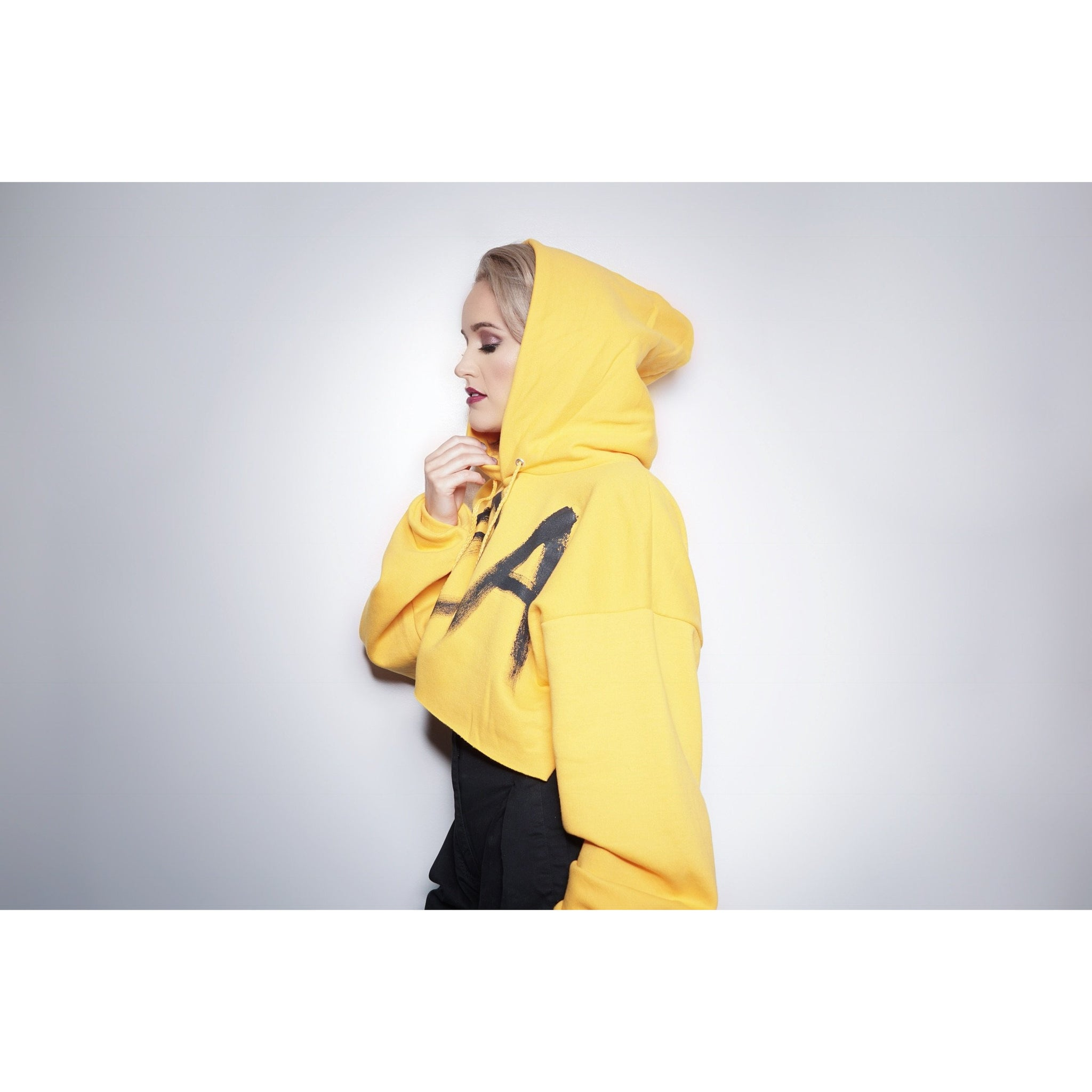 WOA | YELLOW CROPPED HOODIE
