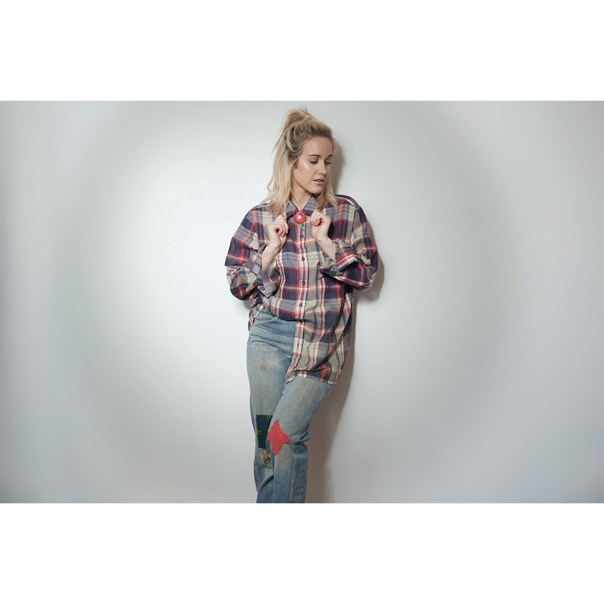 The WOA | Red and Blue Dip Dyed Flannel