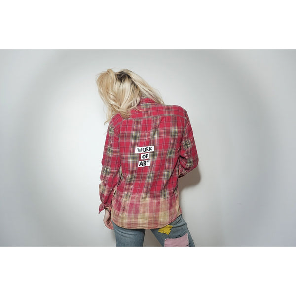 WOA | Red Dip Dyed Flannel ~ Vintage
