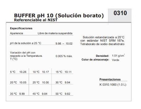 Buffer solución  pH10.0, 1000 ml, Karal