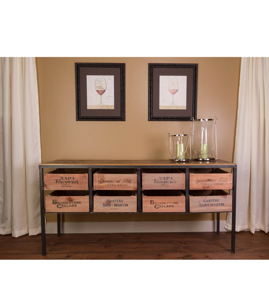 Vintage Wine Crate Console Table