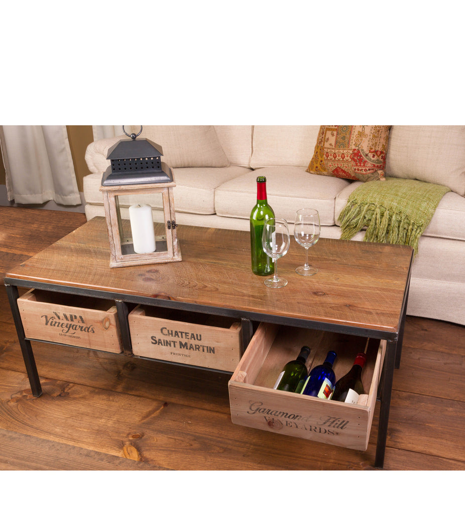 Vintage wine crate coffee table green outfitters for Vintage wine crate coffee table