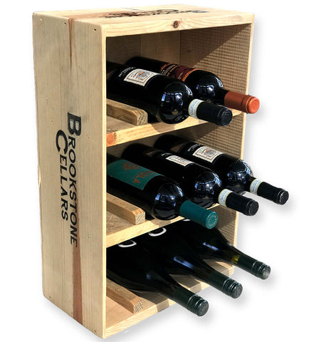 12-Bottle Wine Crate Wine Rack, Free Standing, tabletop, reclaimed wood