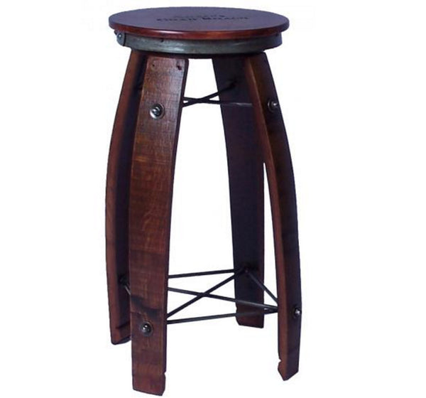 Recycled Wine Barrel Stool with Swivel Seats