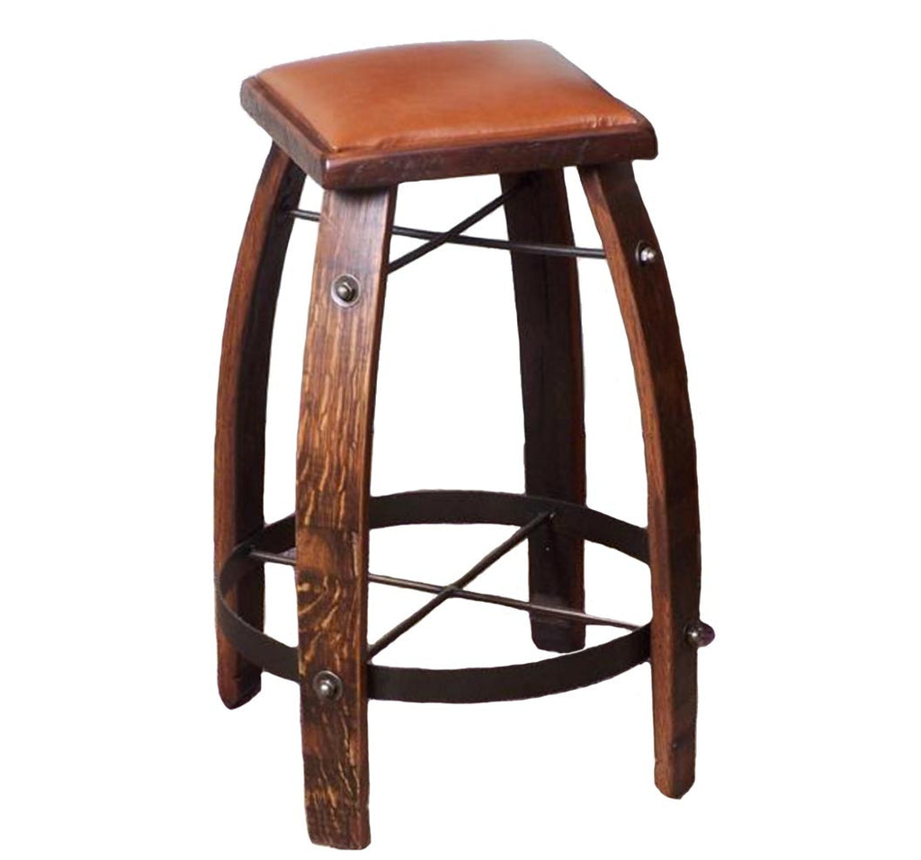 Stave Stool with Tan Leather Seat