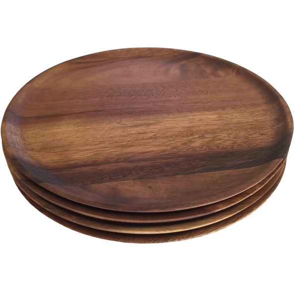"Acacia Wooden Plates, Set of 4 (Large 12"" Dia)"
