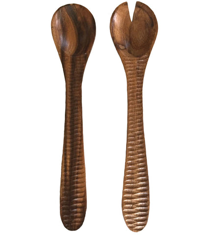 Acacia Wood Decorative Salad Serving Set