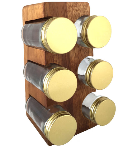 Acacia Wood Stand with Spice Jars