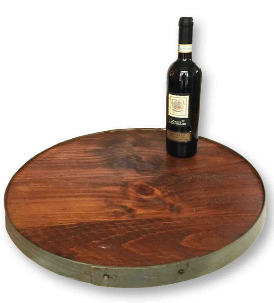 Authentic Wine Barrel Lazy Susan with Barrel Ring Lip