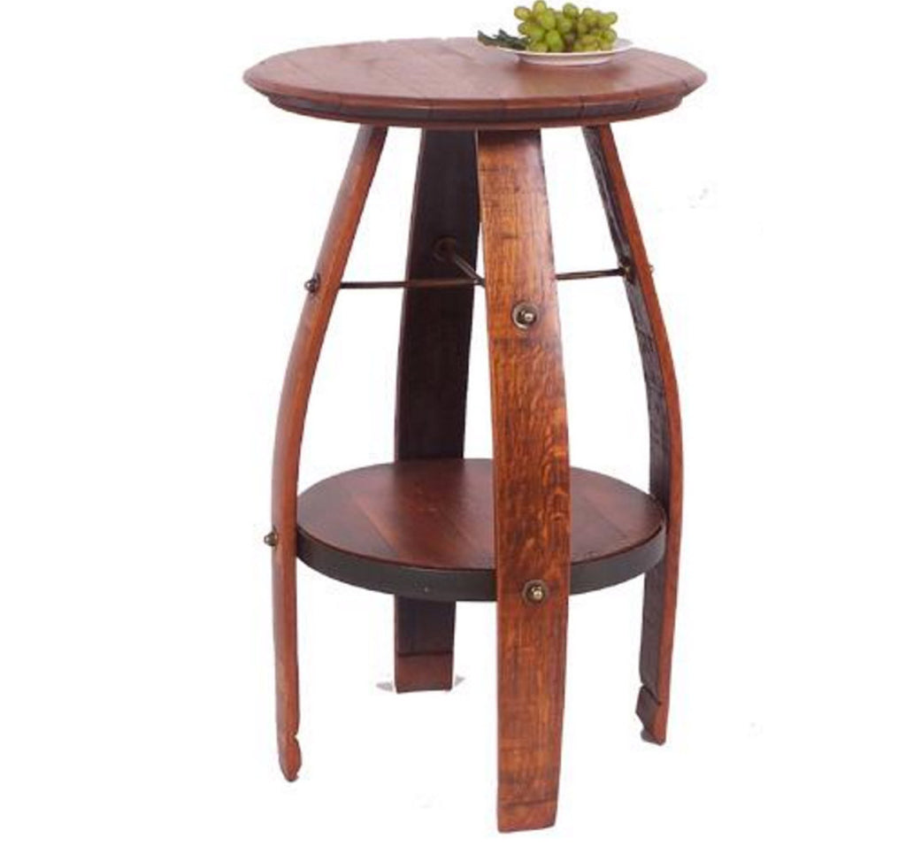 Repurposed Wine Barrel Side Table With Shelf Rustic Wall Co