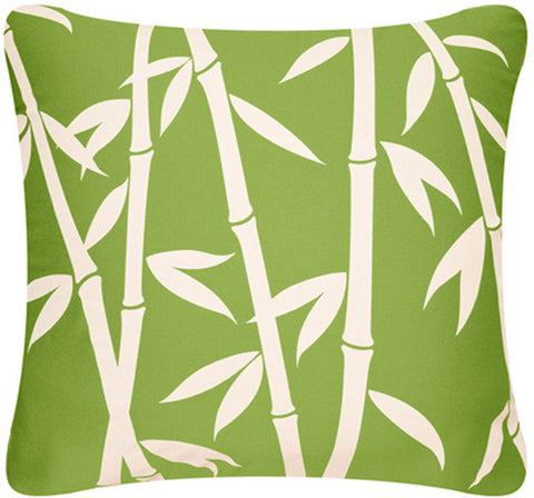 Bamboo Forest Decorative Modern Square Throw Pillow Cover (Apple Green)