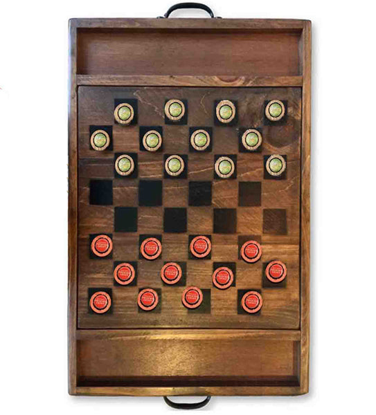 Beer Cap Checkers Game from Retired Wine Barrels
