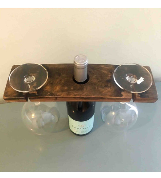 Bourbon Barrel Stave Wine Glass Bottle Holder